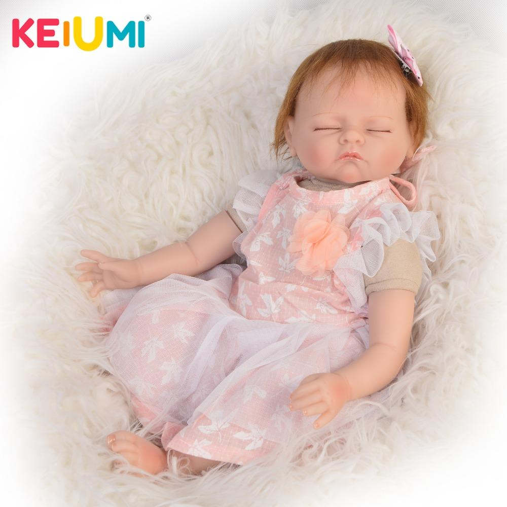 a3ae1e1b6094 2018 Fashion Reborn Baby Doll Realistic 22   Sleeping Princess Soft  Silicone Doll Reborn 55 Cm For Kids Playmates Baby Dolls 18 In Doll Vinyl  Dolls From ...