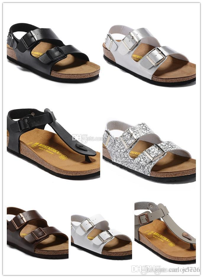 bddd19a069b Sandals Arizona 2017 New Summer Beach Cork Slipper Flip Flops Sandals Women  Men Mixed Color Casual Slides Shoes Flat 36 45 Espadrilles Birkenstock  Sandals ...