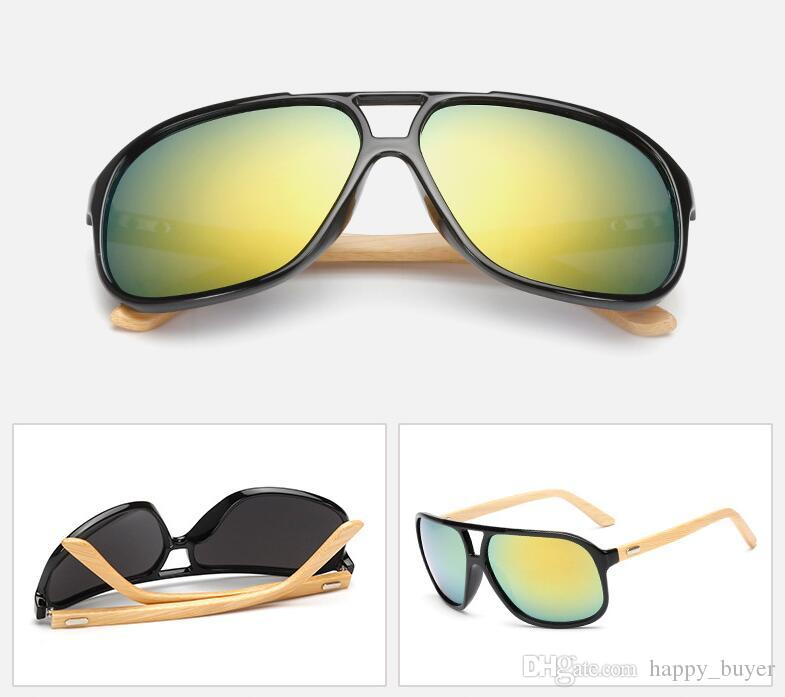 New Retro Fashion Men Women Trend Bamboo Sunglasses Summer Beach Holiday Trave Sun Glasses Gold Resin Lenses Eyeglasses Cheap