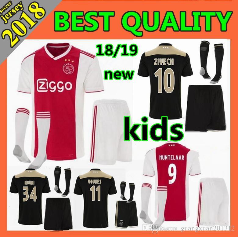 f71ce3afca7 Kids Kit 2018 New Ajax FC Home Soccer Jersey 2018 2019 KLAASSEN ...