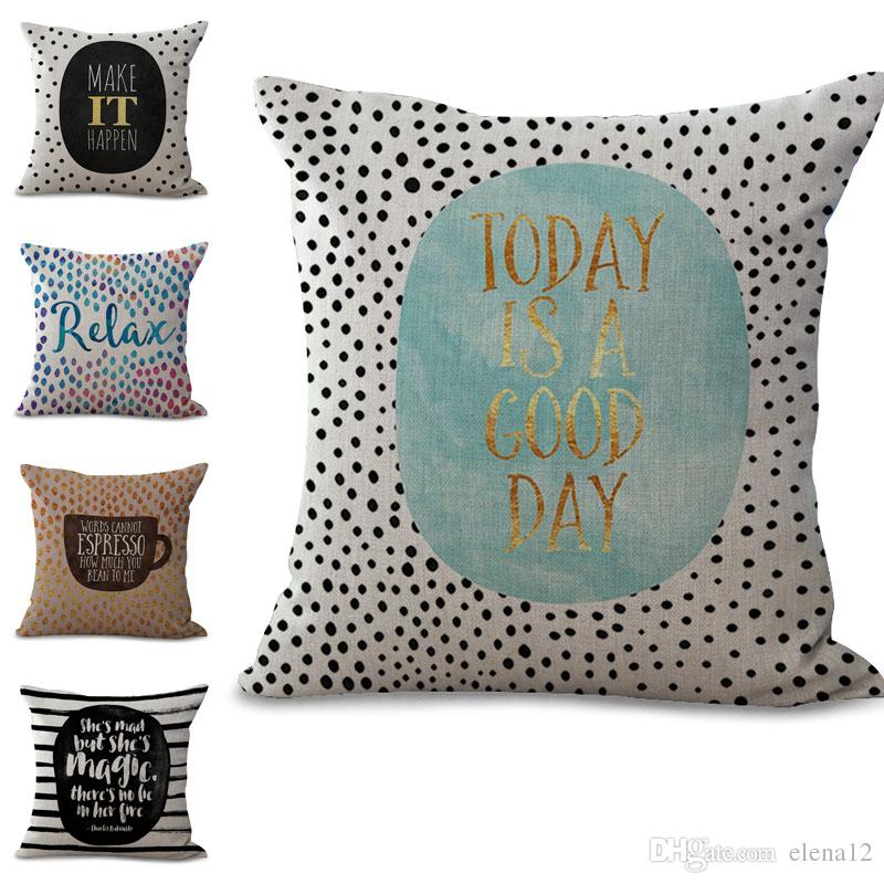 Happy Relax Inspirational Pillow Case Cushion Cover Linen Cotton Impressive Relax Decorative Pillow