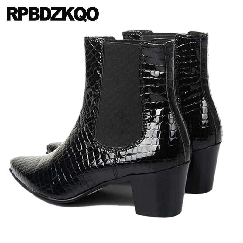 42d1bd94f90f Dress Mens High Heel Boots Shoes Pointed Toe Formal Designer Snakeskin  Genuine Leather Ankle Quality Chunky Black Men Rain Boots For Women Wedge  Booties ...