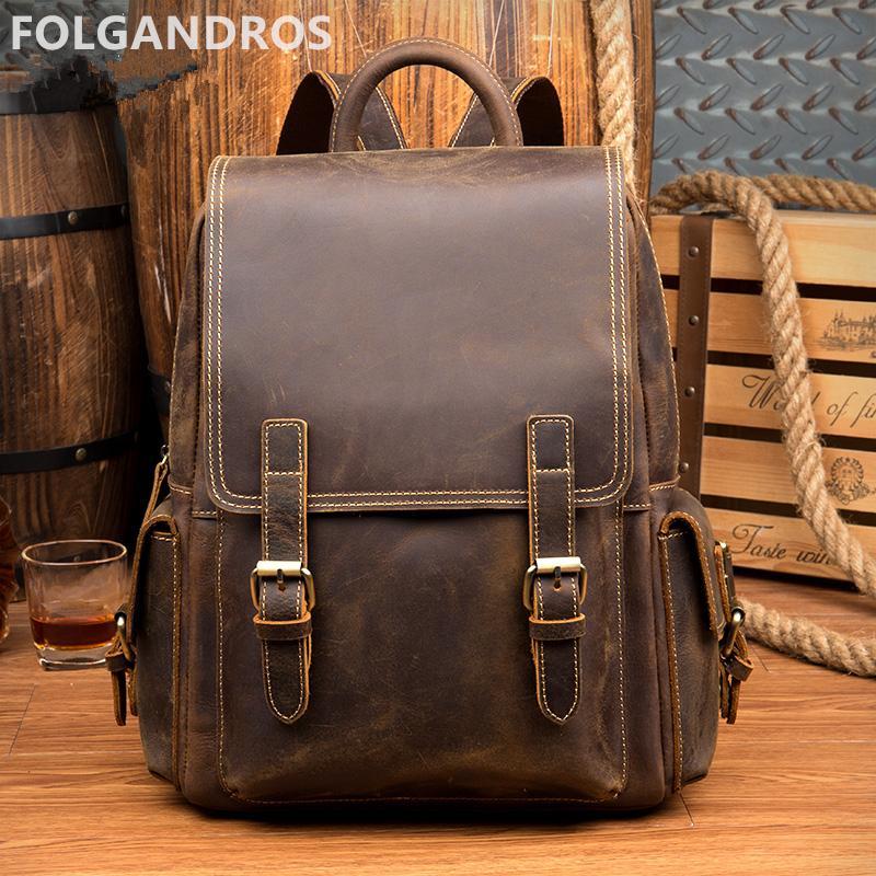 1785665964e8 2018 Vintage Backpack Genuine Leather Men Women Designer Brand Daypack  Classic Travel Backpack Cowhide Shoulder Bag For Man Best Backpacks Girls  Backpacks ...