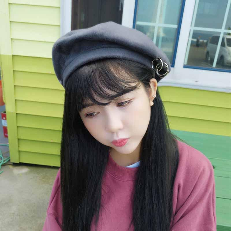 2019 Fancy Solid Color Women Beret Hat Plain Winter Autumn Hats For Women  Wool Feel Winter Beret Hat With Ring Chapeu Feminino Cap From Yongq 1bbd7b47be2