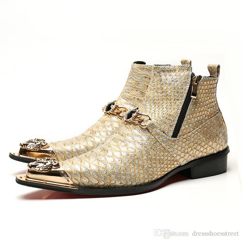 02404c8aa6 Compre Moda De Lujo Para Hombre Oro Vestido Zapatos Cadena Para Hombre Ocio Cuero  Zapatos Botines Tendencia Invierno Zapatos Hombres A  109.55 Del ...