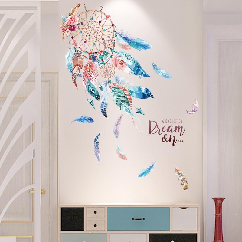 shijuehezi colorful dreamcatcher feathers wall stickers vinyl diy
