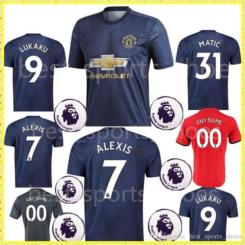 c3d5ca106c355 2018 2019 Lukaku ALEXIS Man Soccer Jersey POGBA 18 19 UnITed Blue ...