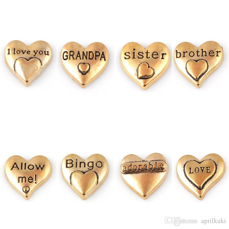 2018 Newest DIY Gold Plated Floating Charms Locket Small Charm Sister Grandpa I Love You Adorable Brother Love Bingo Allow Me!