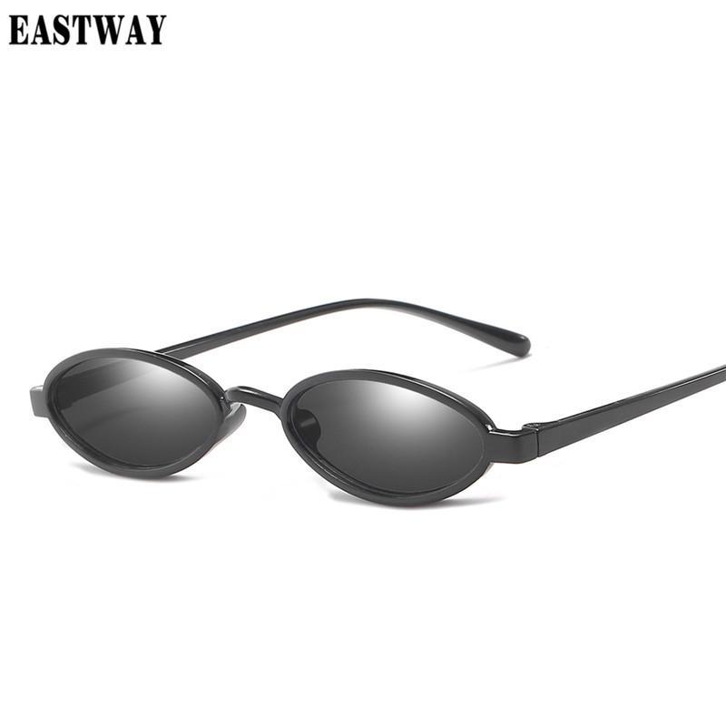 f6c6e086b81 EASTWAY 2018 New Small Oval Steampunk Sunglasses Fashion Lady ...