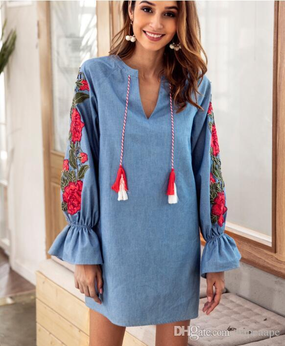 7cc346cfd6 2018 Amazon Autumn Fashion Jeans Blue Drawstring V Collar Embroidered  Lanterns Long Sleeved Loose Women Casual Dresses Short Prom Dresses Semi  Formal ...