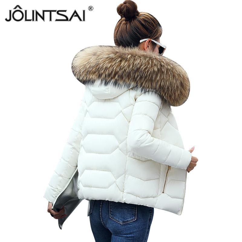 56a34d9502ed5 2019 JOLINTSAI Fake Fur Collar Women Short Parka 2017 Winter Jacket Women  Ladies Coat Clothing Padded Parkas Jackets Female From Paluo