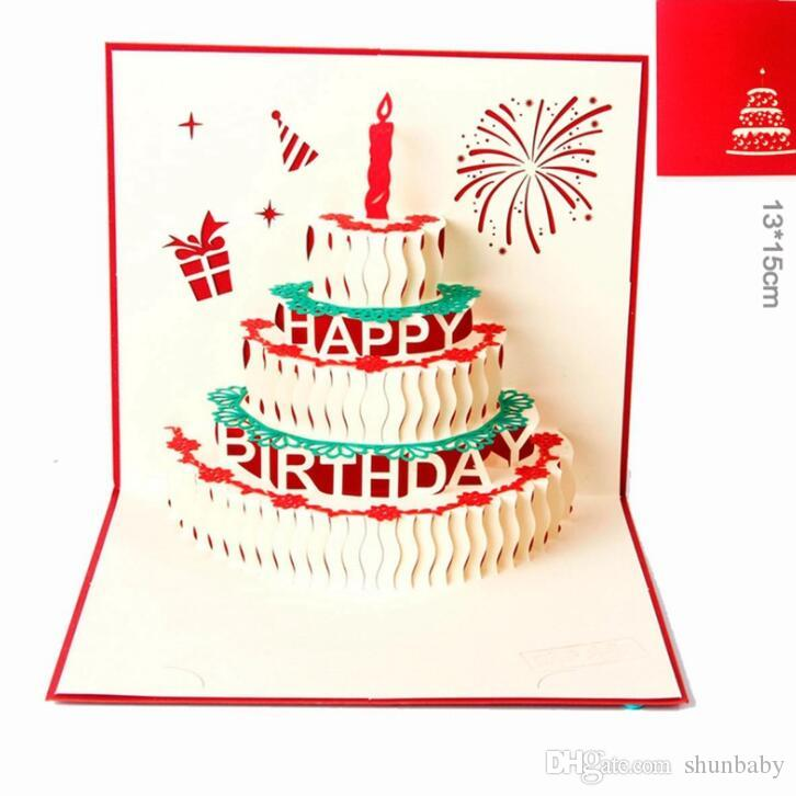Happy Birthday Cake Gift Cards 3d Pop Up Greeting Card Laser Cutting