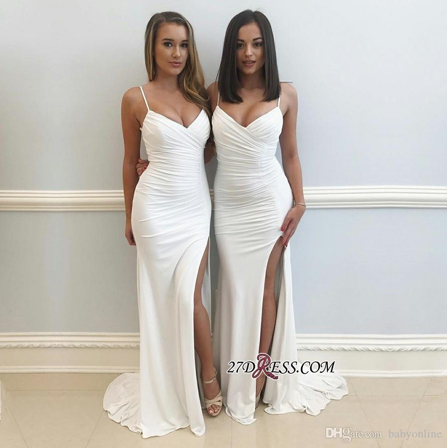 Simple White Sheath Mermaid Evening Dresses 2019 Occasion Party Prom Gowns Spaghetti Straps High Split Long Arabic Bridesmaids Gowns Cheap