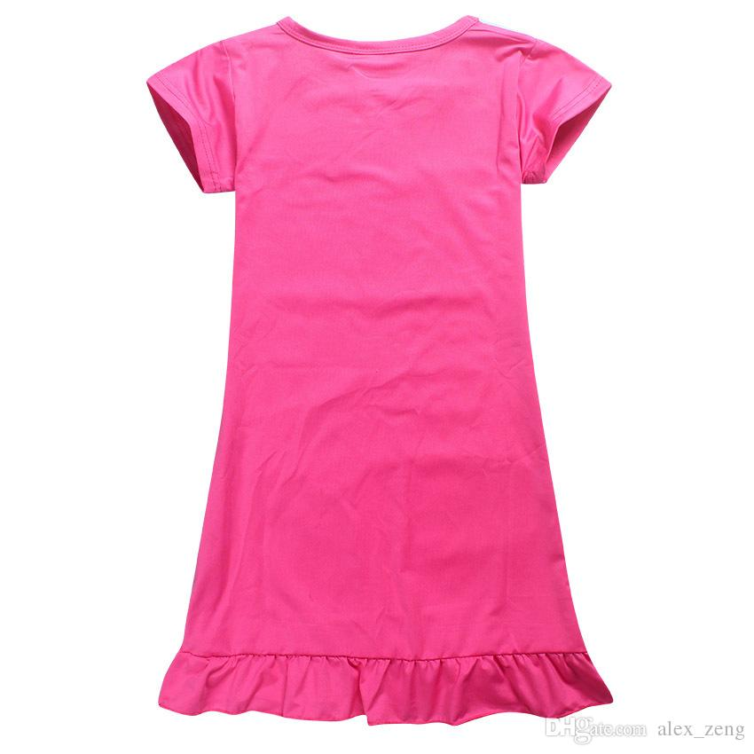 Girl Unicorn princess Pajamas dresses Kids baby girls new printing short sleeves dress summer cartoon Children night skirts