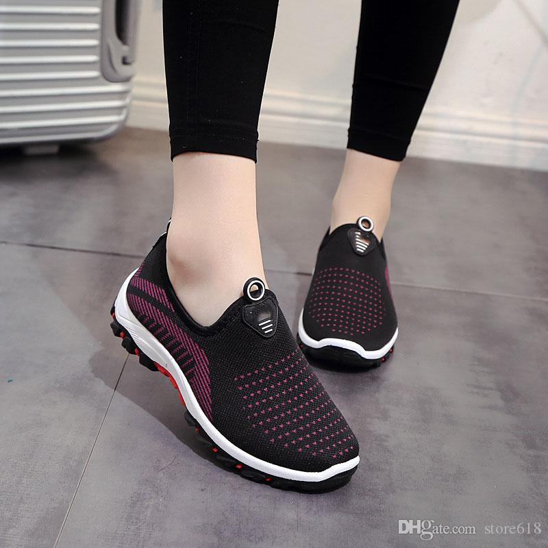 Spring autumn Breathable flat women Brand shoes new type Mesh exercise shoes indolent sports flying weaving grid shoes