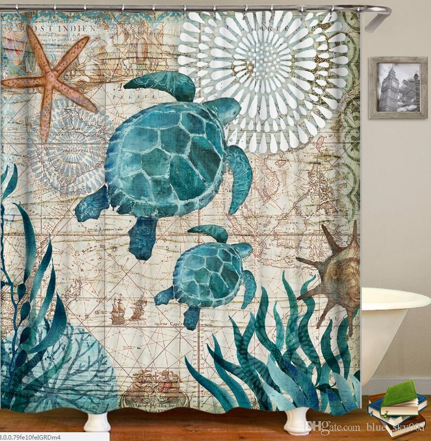 2019 Miracille Sea Turtle Waterproof Shower Curtain Octopus Home Bathroom Curtains With 12 Hooks Polyester Fabric Bath From Blue Sky001