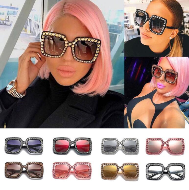 16fe7ba47b53 Vintage Oversized Square Frame Bling Rhinestone Sunglasses Luxury Brand Crystal  Women Fashion Shades Bling Sunglasses LJJK994 Best Sunglasses For Men ...