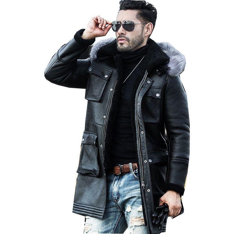 Heißer Verkauf Mode Schaffell Lederjacke Mantel Wolle Liner Männer Winter Dicke Lange Leder Pelz Hohe Qualität Mantel Plus Größe M 4XL