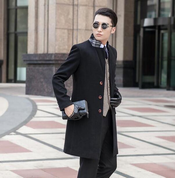 48c699654fa 2019 Black Grey Khaki Blue Fashion Single Breasted Mens Woolen Coats Man  Long Coat Men Clothes Slim Fit Overcoat Men Big Size 9XL From Bailanh