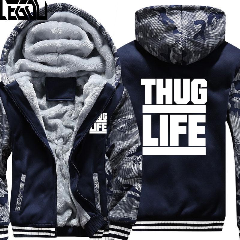 Compre Envío Gratis Thug Life Tupac 2PAC Sudaderas Con Capucha Hombres  Invierno Camuflaje Sudaderas Con Capucha Hombres Cremallera Fleece Sudaderas  Abrigo ... b5873c7c187