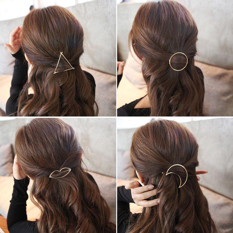 Promozione Trendy Vintage Circle Lip Moon Triangolo Hair Pin Clip Tornante Pretty Girls Girls Metal Accessori gioielli