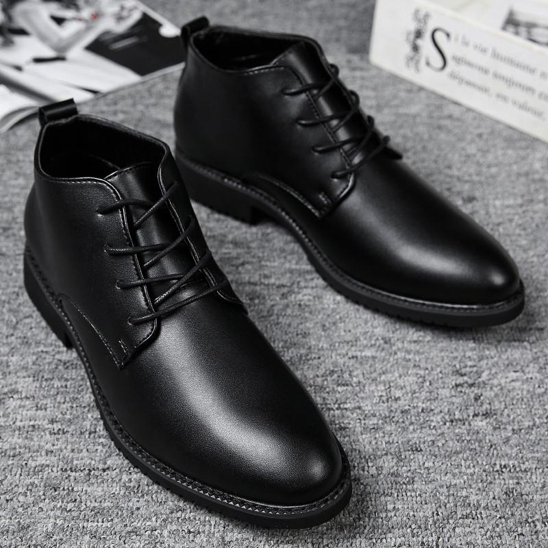 49d6572ed7d Ifrich New Arrival Mens Patent Leather Shoes Lace Up Man Work Safety Split  Leather Boots Comfortable Black Man Business Shoes