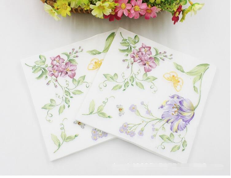 Floral paper napkin with bee flower para festas party tissue floral paper napkin with bee flower para festas party tissue napkin supply decoration 33cm33cm packgold cloth napkins table runner and placemats from mightylinksfo