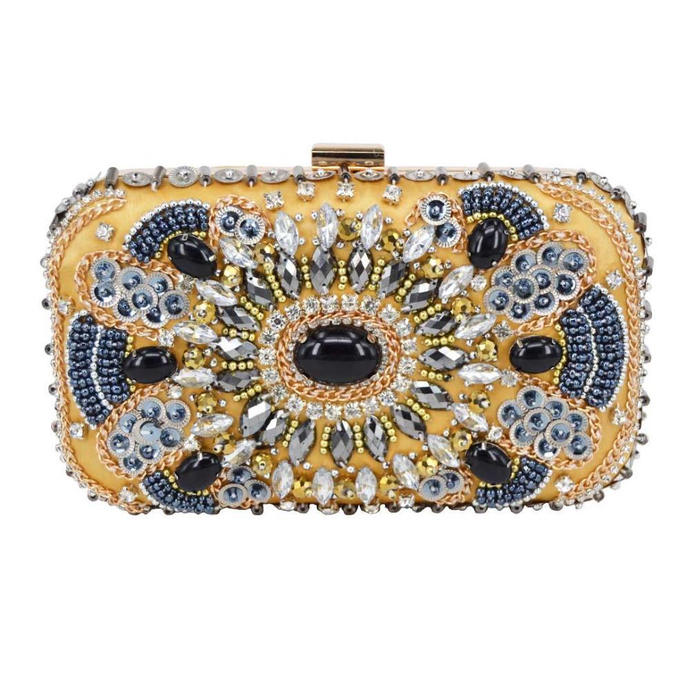 82506172f6 Fashion Beaded Gold Clutch Bags Women Party Wedding Purse Messenger ...