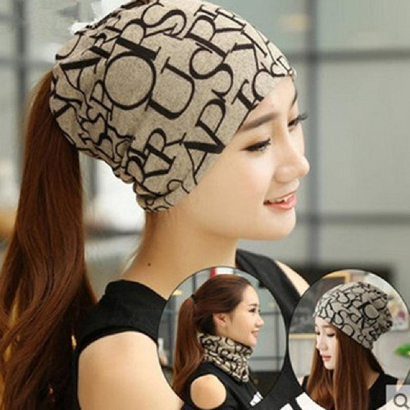 2019 Cotton LettePrinted Cap Autumn Winter Warm Hats For Women Cap 3 Way To Wear  Bonnet Femme As Beanie Ring Scarf Turban From Masn 5c68e97215dc