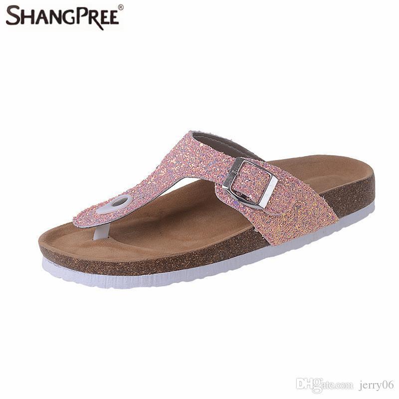 d8728ab113db 2018 New Summer Women Beach Cork Slippers Casual Sandals Sequins ...