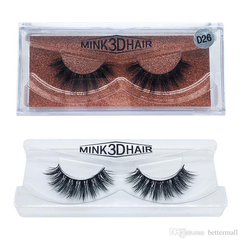 Pure Handmade Thick Mink 3D Hair Fake Eyelashes Real Mink Hair False Lashes Black Cotton Stalk 15 styles DHL Free