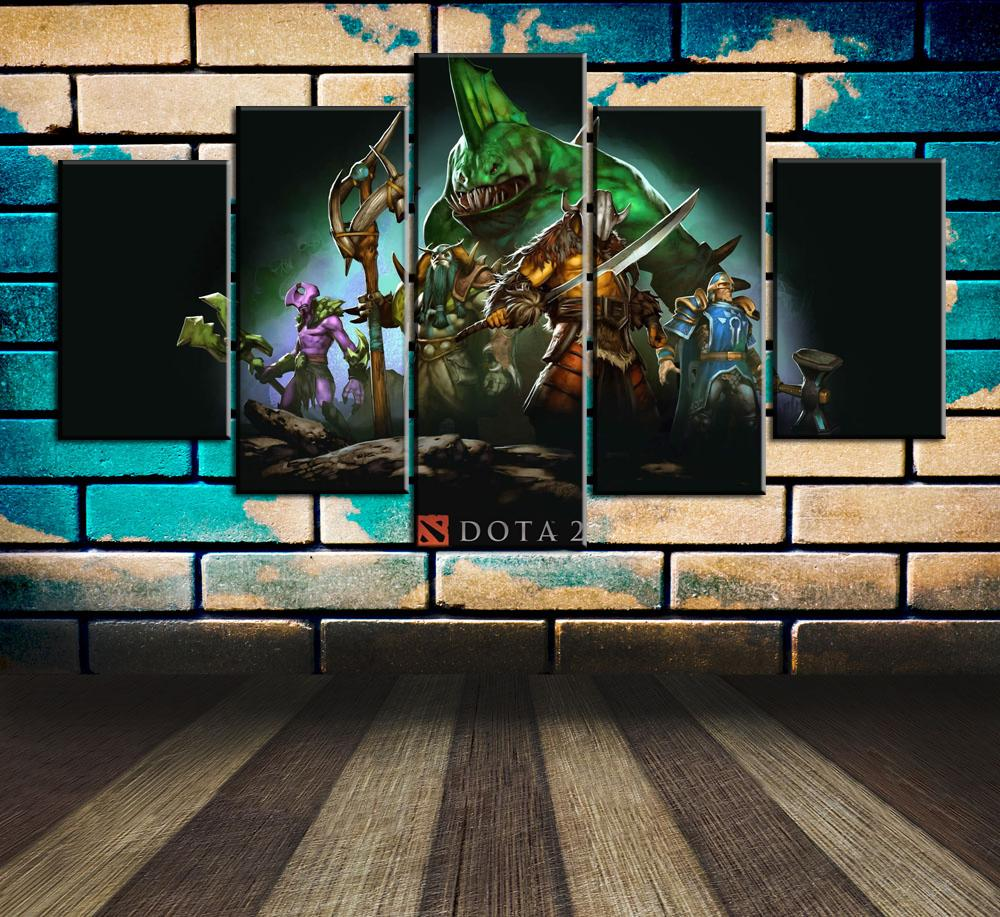 Dota,5 Pieces Home Decor HD Printed Modern Art Painting on Canvas (Unframed/Framed)