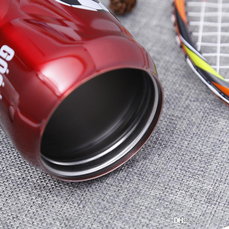2018 New Pattern Vacuum Cup Fashion Stainless Steel Outdoors Portable Straw Cups With Football Picture Water Bottle Factory Direct 25ss X