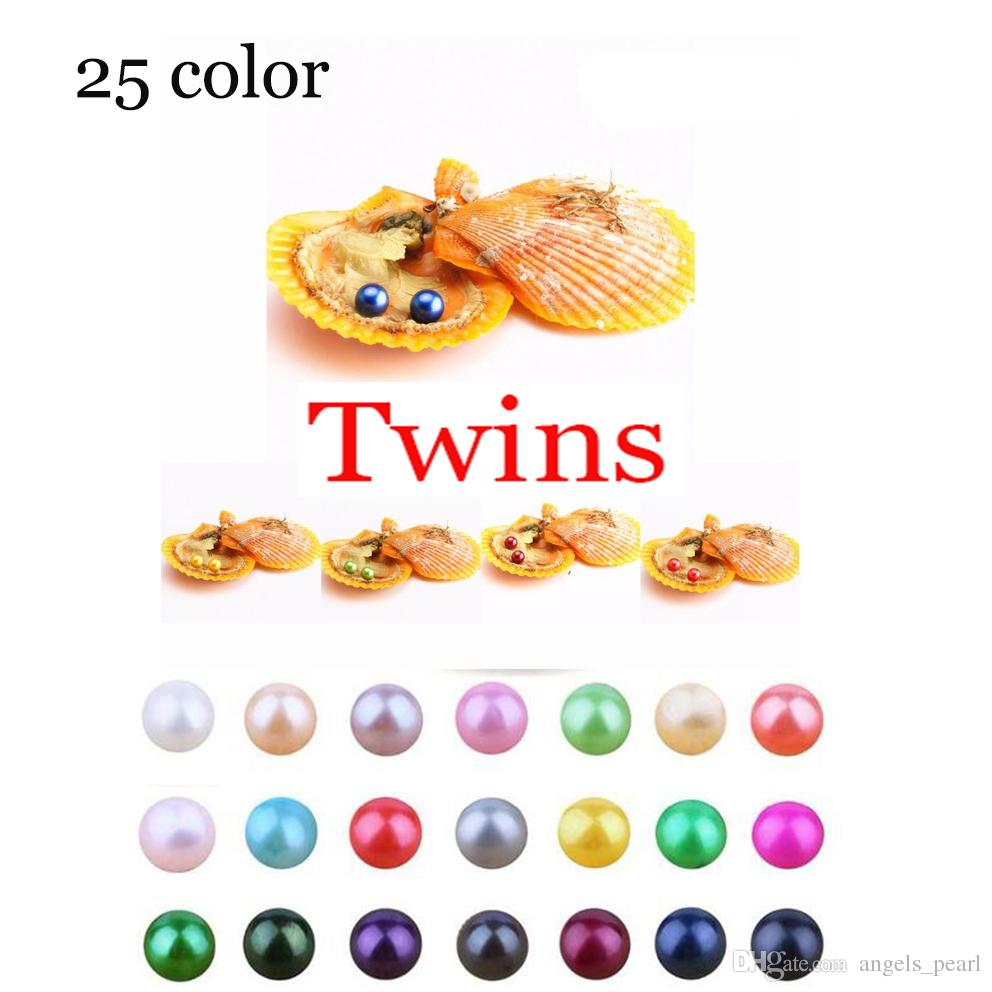 Akoya High quality cheap love Seawater shell Twins pearl oyster 6-8mm Red shell pearl oyster with vacuum packaging Trend Gift Surprise