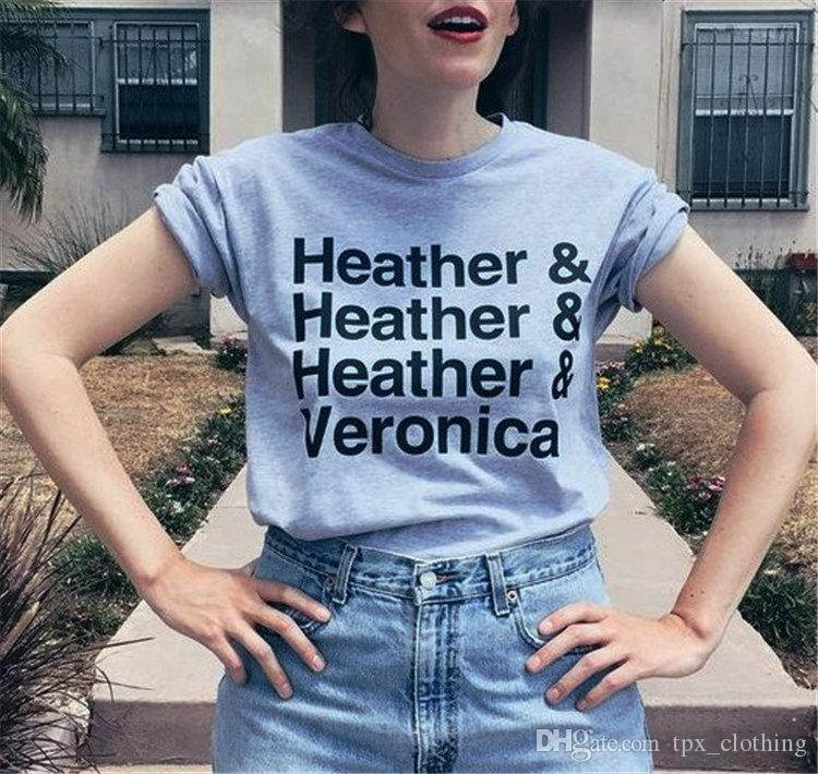 Heather t shirt Cool words and veronica short sleeve gown Street leisure  tees Unisex clothing Pure color cotton Tshirt