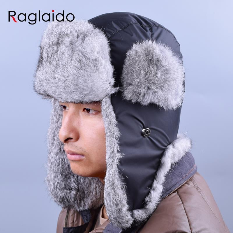 2019 Russian Winter Hats For Men Waterproof Warm Real Rabbit Fur Hat Men S  Bomber Hats Genuine Fur Trapper Hats LQ22003 C18110801 From Xiao0003 8a859704ac0