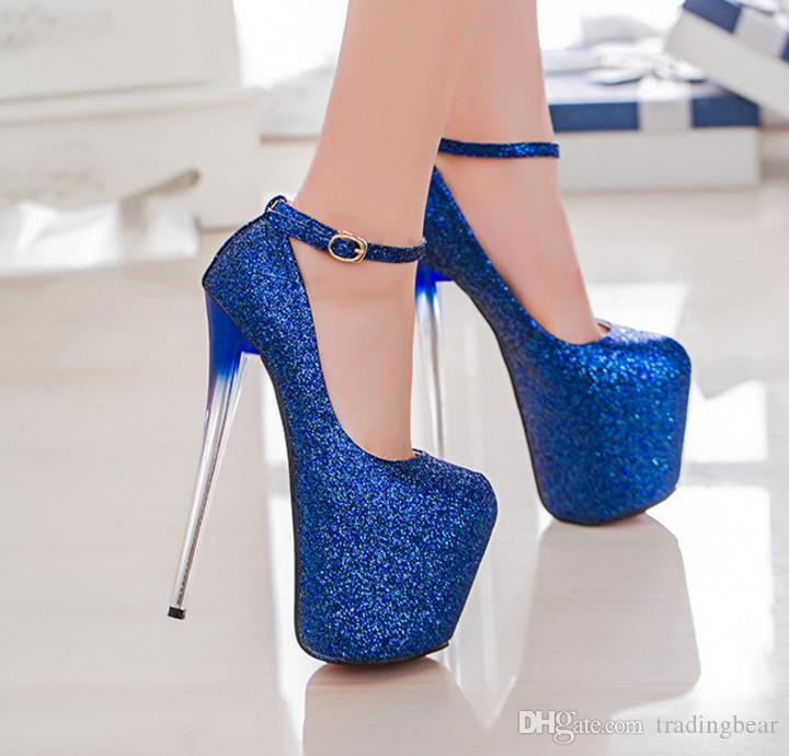 2cd3bcbe514 Plus Size 34 To 40 41 42 43 Sexy Women Platform Pumps 19cm Glitter Fuchsia  Sequined High Heels Wedding Shoes Boots For Men Wedge Shoes From  Tradingbear