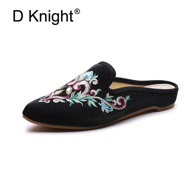 d6e1ccf44 Woman Slippers Embroider Flat Shoes Low Heels Autumn Mules For Women Slides  Canvas Female Shoes Pointed Toe Sweet Girls Slippers Womens Cowboy Boots ...
