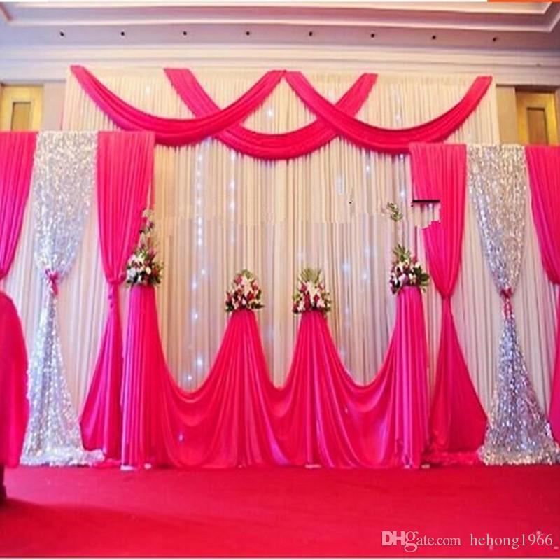 2018 Satin Curtain For Wedding Party Stage Background Decoration