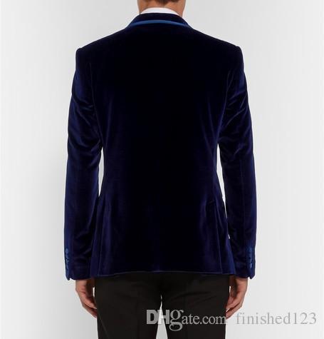 Stylish Design Groom Tuxedos One Button Dark Blue Velvet Shawl Lapel Groomsmen Best Man Suit Mens Wedding Suits Jacket+Pants+Tie NO:851