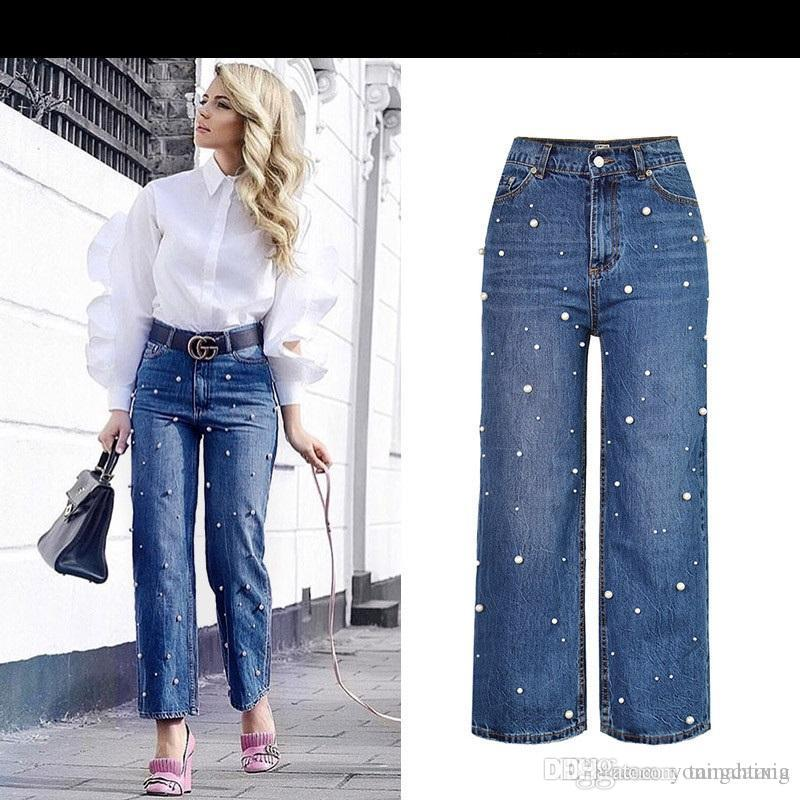 3354bf380b37d 2019 Wholesale Loose Flares Wide Leg Pants Women High Waist Pearl Bead  Trouser Femme Personality Vintage Jeans From Tangcaixia