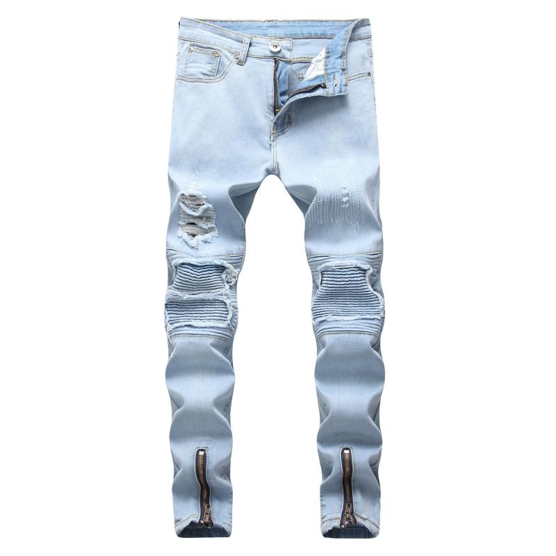 9c99f18ef6e 2019 Gersri Stretch Men Knee Ripped Skinny Jeans Urban Clothing Punk Korean Fashion  Denim Designer Distressed Joggers Pants From Vikey10