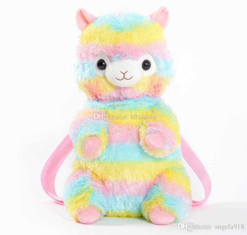9b48b8e9025a Baby Rainbow Alpaca Backpacks Kids Plush Bag Toy Cartoon Kindergarten  School Bag Alpacasso Bag C5133 All Backpack Brands Leather Backpacks On  Sale From ...