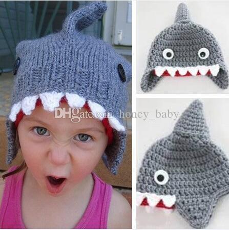 Großhandel Neugeborenes Kleinkind Häkeln Shark Muster Hut Säugling ...