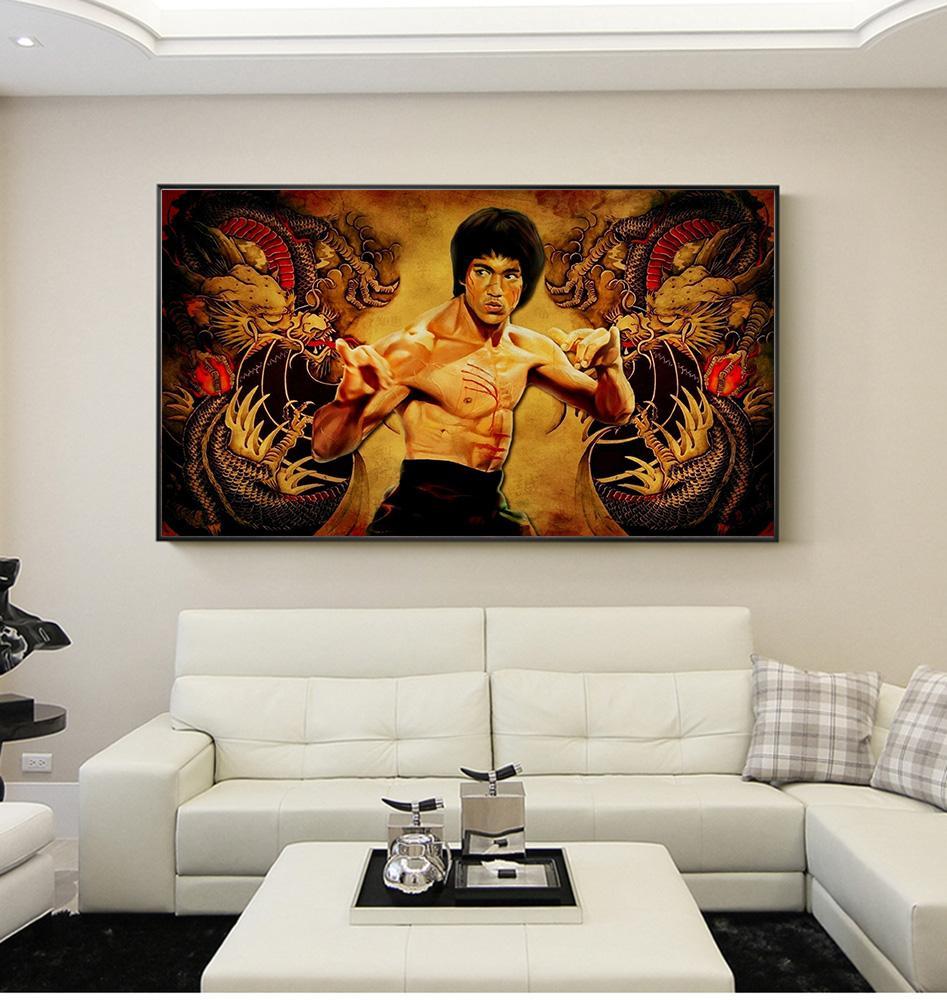 Großhandel Große Größe Druck Ölgemälde Chinesische Kung Fu Bruce Lee ...