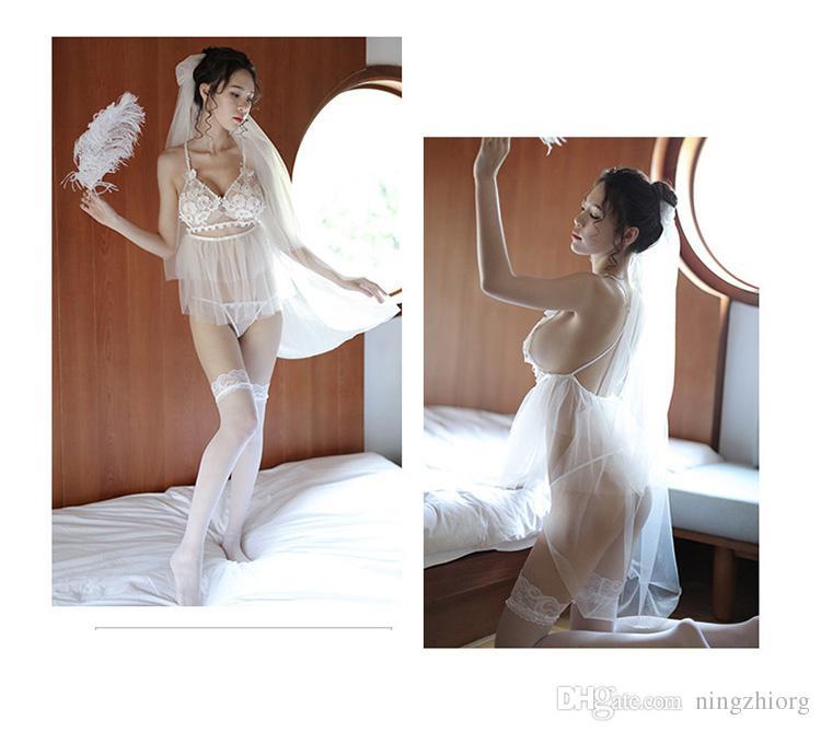 2018 Новый сексуальное нижнее белье белый тюль эротическое белье невесты установить перспективный экран марлевые набор внешней торговли Оптовая