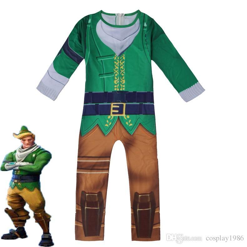 c489674cd9 2018 cosplay game fortnite codename elf costume halloween christmas party  kids boy jumpsuit zentai bodysuit catsuit