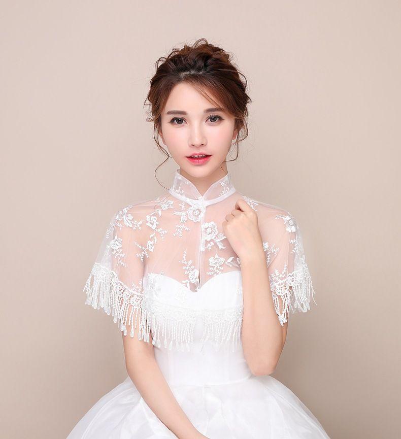 JaneVini 2018 High Neck Jackets For Wedding Bolero White Lace Tassel Bridal Wraps Cape lebanon Womens Summer Shrug High Quality