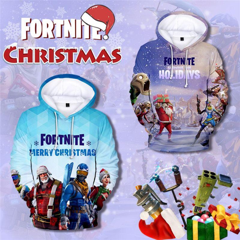 2018 Game Fortnite 3D Hoodies Christmas Xmas Kids Children Cartoon ...