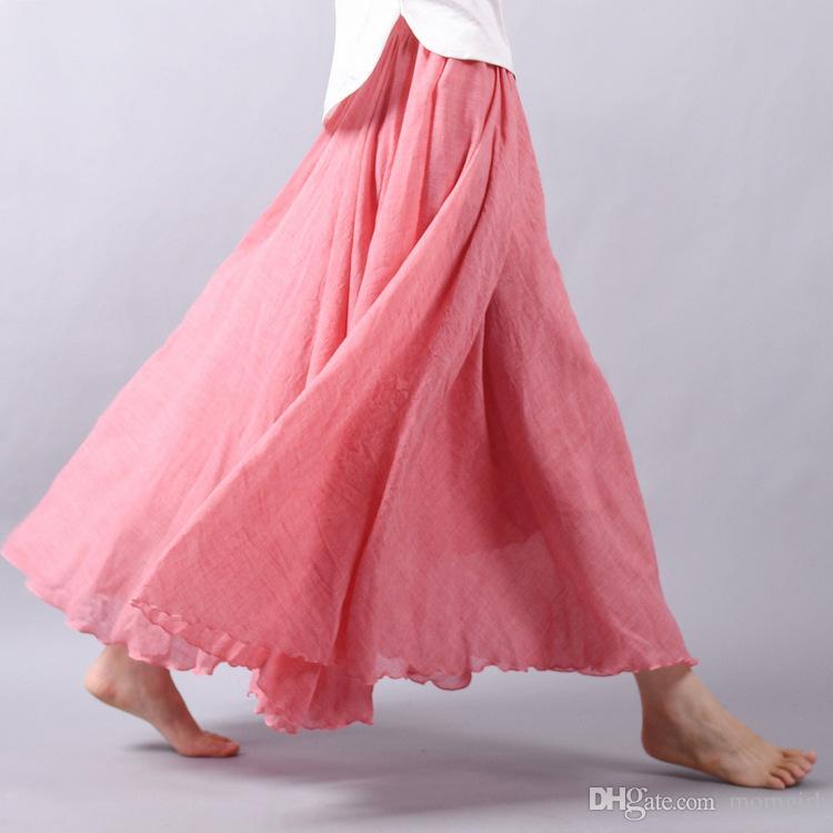 0057e583d0 2019 Women Summer Linen Skirt Female Fashion Elastic Waist Pleated Long  Skirt Beach Bohemia Vintage Solid Color Flax Skirt From Momgirl